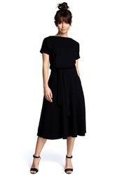Sukienka midi wiązana w pasie - czarna