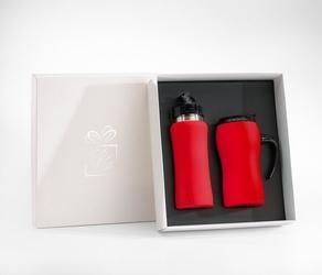 Zestaw fluo bidon 600 ml + kubek termiczny z rączką 450 ml gumowany czerwony