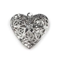 Ażurowy medalion otwierany 25 mm - serce