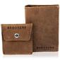 Skórzany zestaw portfel i bilonówka brodrene sw03 + cw02 jasnobrązowy - j. brązowy