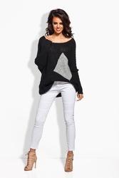 Czarny luźny sweter z szerokim dekoltem