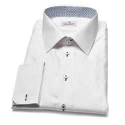 Elegancka biała koszula męska van thorn z klasycznym kołnierzykiem i mankietami na spinki 36