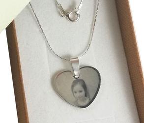 Komplet zawieszka+łańcuszek serce grawer zdjęcia +pudełko srebro925