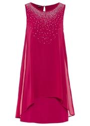 Sukienka szyfonowa ze sztrasami bonprix jeżynowo-czerwony