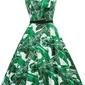 Rozkloszowana sukienka pin up w zielone liście
