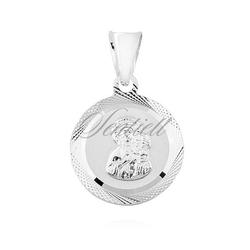 Okrągły ozdobny srebrny 925 medalik matka boska częstochowska