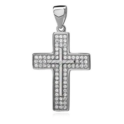 Srebrny pr.925 krzyżyk z cyrkoniami