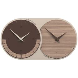 Zegar ścienny - 2 strefy czasowe world clock calleadesign orzech włoski 12-009-85