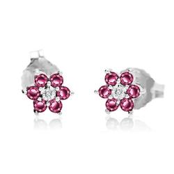 Staviori kolczyki. 2 diamenty, szlif brylantowy, masa 0,007 ct., barwa h, czystość i1. 12 rubinów, masa 0,25 ct.. białe złoto 0,585. średnica 5,5 mm. grubość 2 mm.
