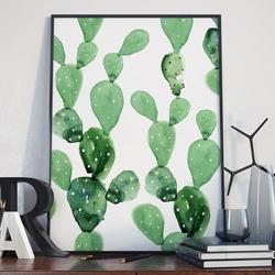 Plakat w ramie - cactus art , wymiary - 60cm x 90cm, ramka - czarna