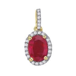 Staviori wisiorek. 24 diamenty, szlif brylantowy, masa 0,12 ct., barwa h, czystość si2. 1 rubin, masa 0,95 ct.. żółte złoto 0,585. wymiary 10x8 mm. długość 15 mm.