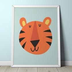 Tygrys - plakat dla dzieci , wymiary - 40cm x 50cm, kolor ramki - biały