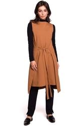 Karmelowa efektowna dresowa sukienka bez rękawów