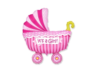 Balon foliowy wózek różowy - 62 cm - 1 szt.