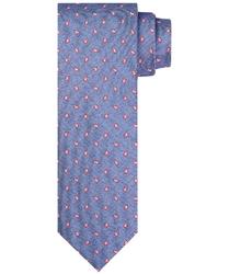 Niebieski jedwabny krawat ze wzorem profuomo