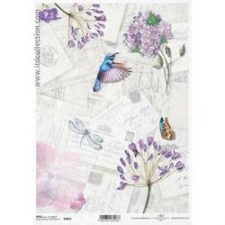 Papier ryżowy ITD A4 R1063 hortensja ptak