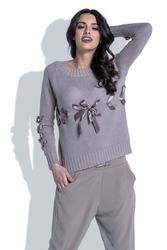 Mocca Klasyczny Sweter z Ozdobnymi Kokardkami