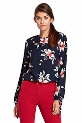 Kwiatowa granatowa elegancka bluzka z wiązaniem przy rękawach