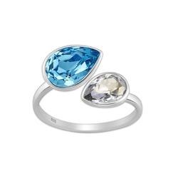 Srebrny pierścionek z kryształami swarovskiego