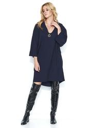 Granatowa oversizowa sukienka z szerokim rękawem ¾