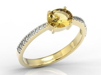 Pierścionek z żółtego złota z cytrynem i diamentami bp-58z-r - żółte z rodowaniem  cytryn