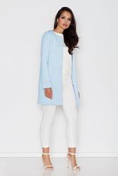 Niebieski elegancki płaszczyk bez zapięcia i bez kołnierza