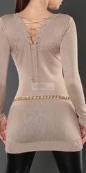 Tunika, sukienka dzianinowa z łańcuszkiem na plecach, beżowa