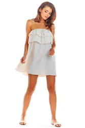 Zwiewna beżowa mini sukienka z hiszpańskim dekoltem