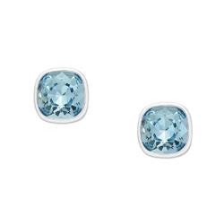 Srebrne kolczyki z kryształami swarovski kolor aquamarine