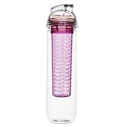 Butelka z różowym pojemnikiem na owocelód fresh sagaform