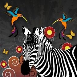 Obraz na płótnie canvas trzyczęściowy tryptyk ilustracja zebrą i kolibry