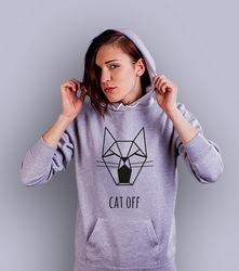 Cat off damska bluza z kapturem jasny melanż xl
