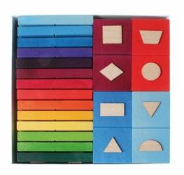 Domino geometryczne 28-el. 3+, tęczowe, Grimms