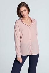 Różowa Gładka Koszula z Długim Rękawem