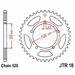 Zębatka tylna stalowa JT 18-39, 39Z, rozmiar 520 2300984 MZMUZ Skorpion 660