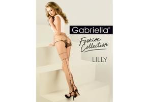 Lilly 417 Beżowe GABRIELLA rajstopy z czarnym szwem z listkami
