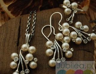Srebrny komplet perły i kryształy LEGACY