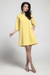 Żółta Wizytowa Sukienka o Linii A z Przeszyciami