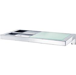 Uchwyt na papier toaletowy ze szklaną półką Blomus Menoto stal polerowana B68832
