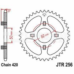 Zębatka tylna stalowa JT 256-42, 42Z, rozmiar 420 2300027 Honda ST 50