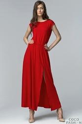Czerwona Sukienka Maxi z Długim Rozporkiem i Wycięciem na Plecach