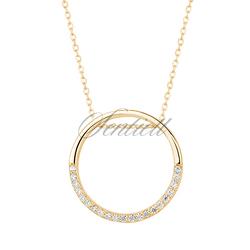 Srebrny naszyjnik złocony pr.925 okrąg z cyrkoniamii