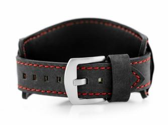 Pasek skórzany do zegarka W84 - podkładka - czarnyczerwony - 20mm