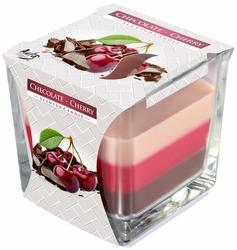 Bispol, świeca zapachowa trójkolorowa w szkle, czekolada i wiśnia, 1 sztuka