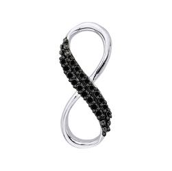 Staviori Wisiorek. 18 Diamentów, kolor czarny, szlif brylantowy, masa 0,07 ct.. Białe Złoto 0,585. Wymiary 5x15 mm.
