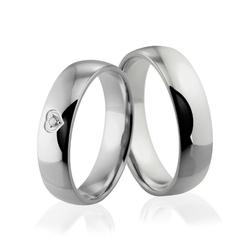 Obrączki ślubne z białego złota niklowego z serduszkiem i brylantem - Au-912