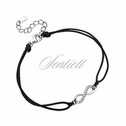 Srebrna pr.925 bransoletka z czarnym sznurkiem - nieskończoność z cyrkoniami