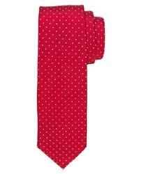 Czerwony krawat jedwabny w białe kropki