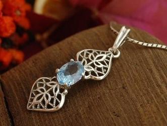 DAREL - srebrny wisiorek z akwamarynem