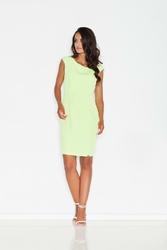 Prosta Zielona Sukienka Midi z Przeszyciami